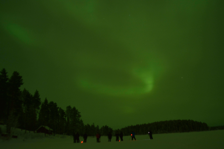 northern lights at the lake